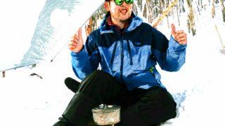 【福島】冬の小野川不動滝でスノーハイクとULタープ遊び